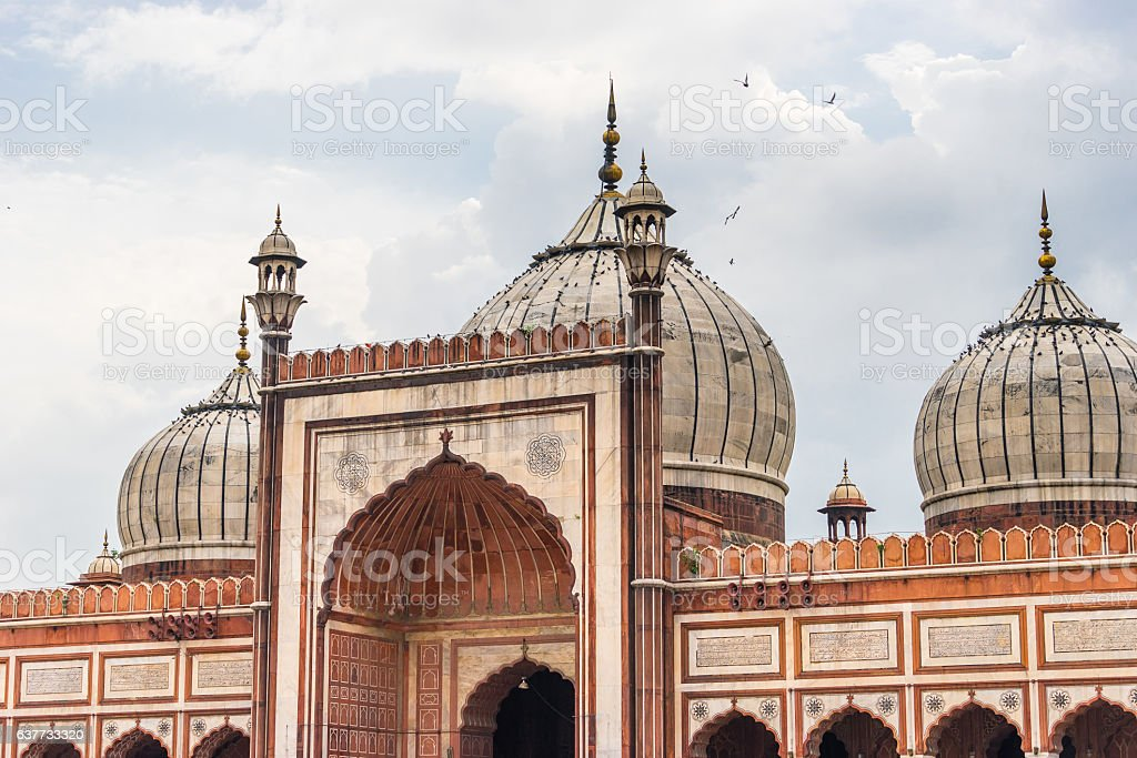 Jama mosque (masjid) landmark of New Delhi  in cloudy stock photo