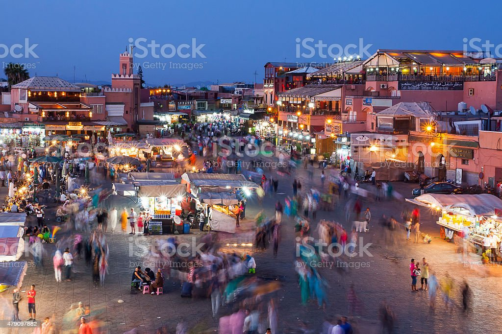 Jamaa el Fna in Marrakesh stock photo