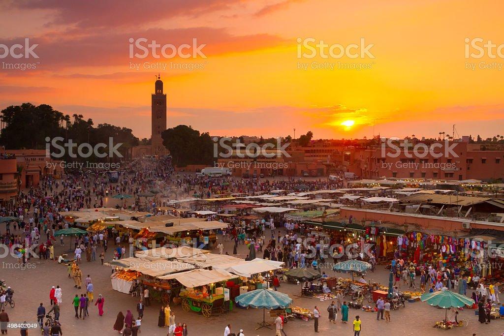 Jamaa el Fna, Marrakesch, Marokko. - Lizenzfrei Abenddämmerung Stock-Foto
