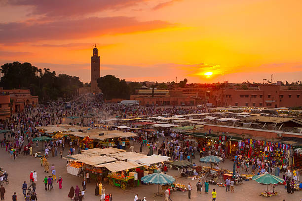 Jamaa el Fna, Marrakesh, Morocco. stock photo
