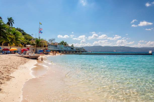 Jamaica beach near Montego Bay. stock photo