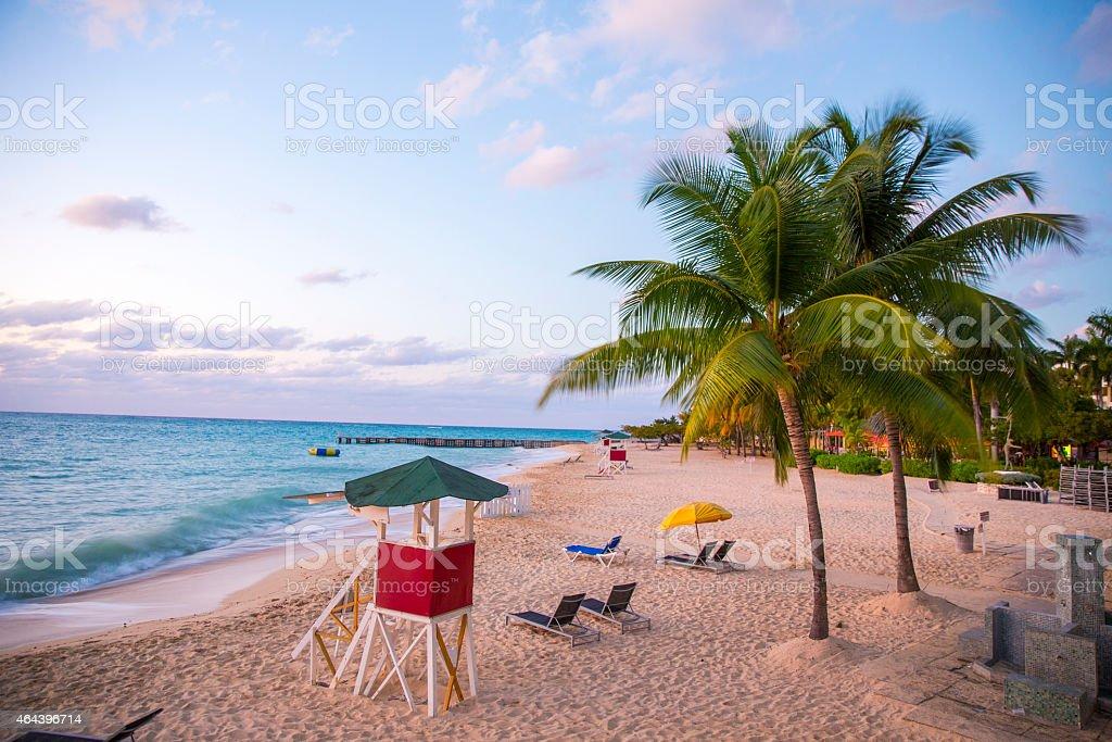 Jamaica beach sunset stock photo