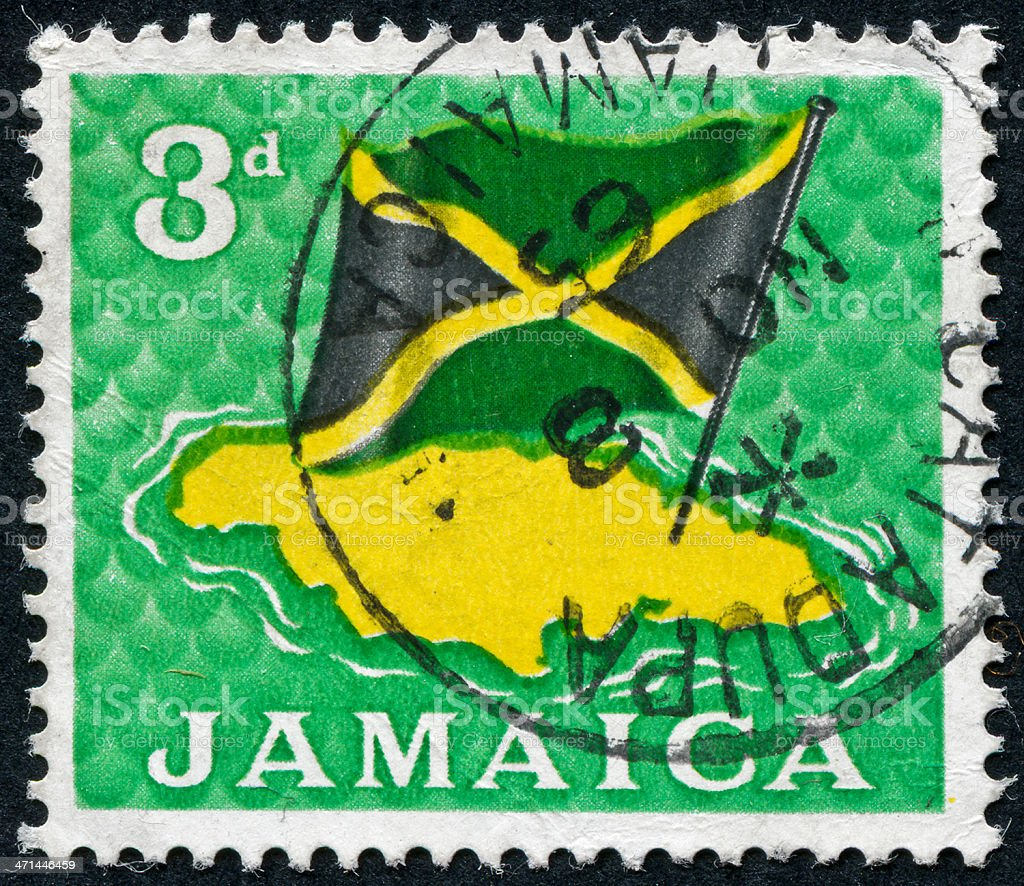 Jamaica Flag Stamp stock photo