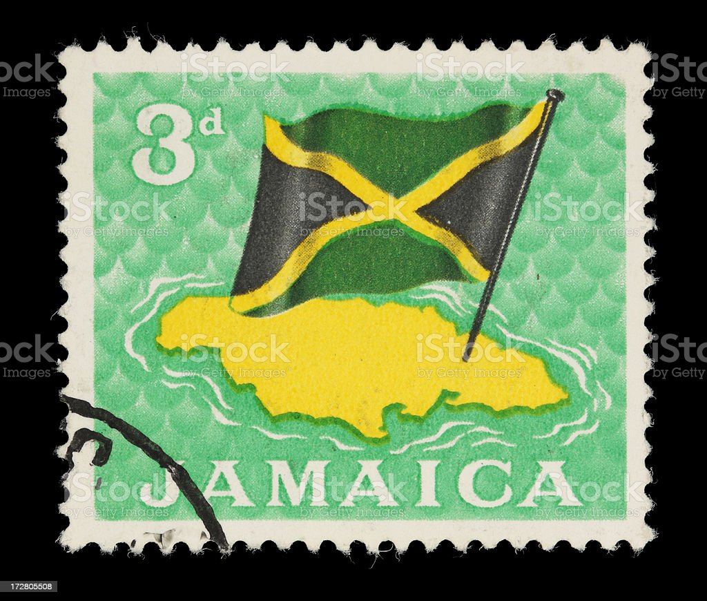 Jamaica map & flag stamp royalty-free stock photo