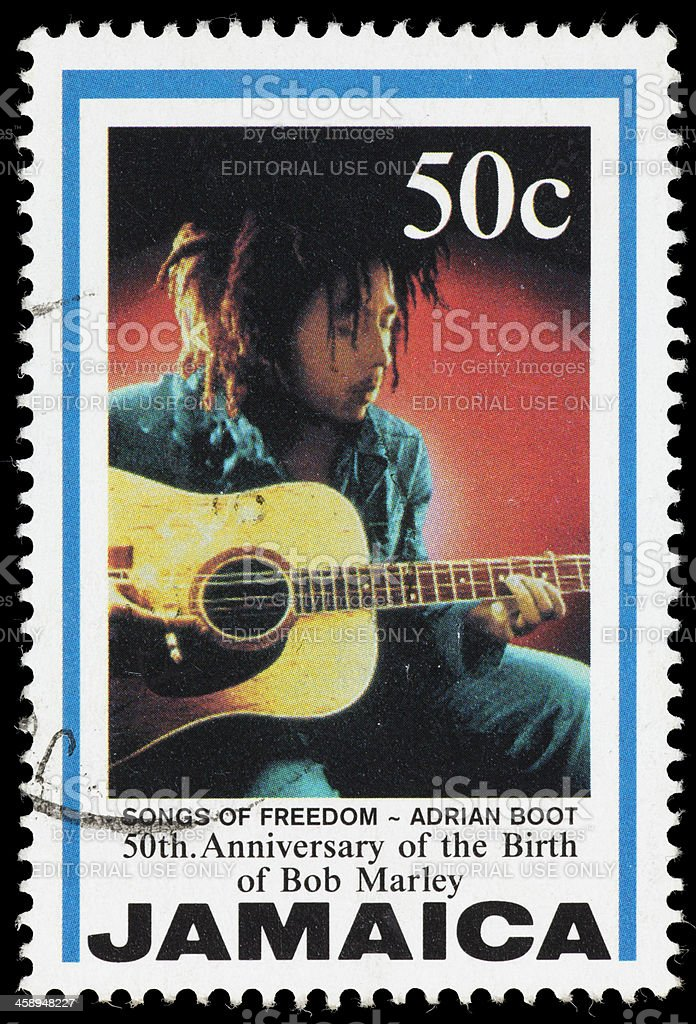 Jamaica Songs of Freedom Bob Marley postage stamp bildbanksfoto