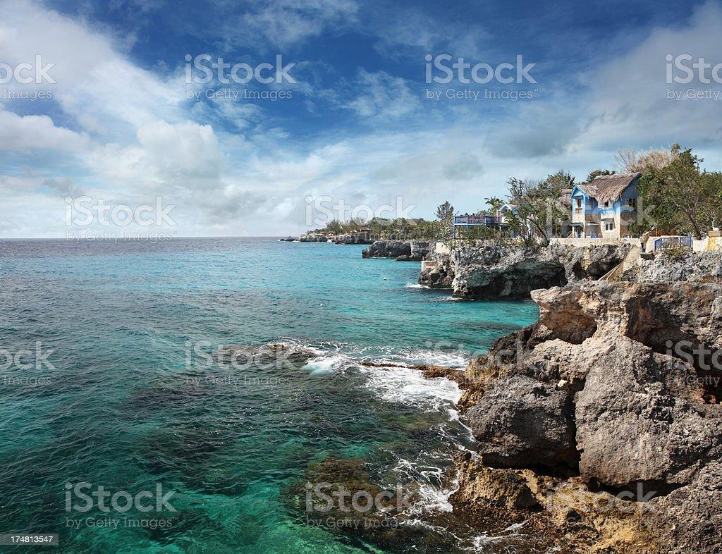 Jamaican coast at Negril stock photo