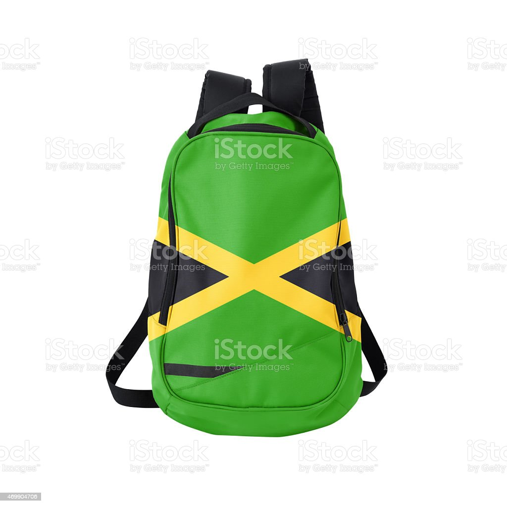 Jamaican flag backpack isolated on white w/ path stock photo