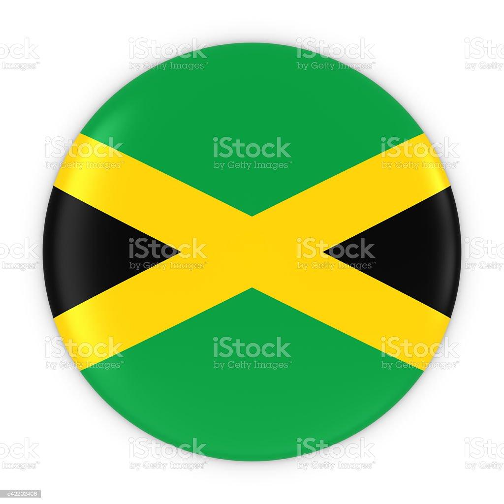 Jamaican Flag Button - Flag of Jamaica Badge 3D Illustration - foto de acervo