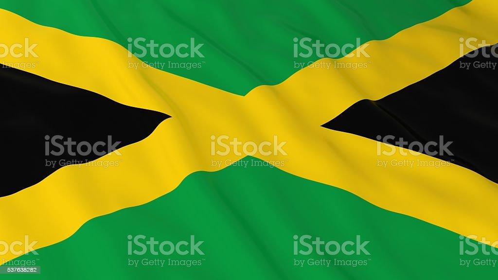 Bandeira Jamaicana HD fundo-ilustração 3D da bandeira da Jamaica - foto de acervo