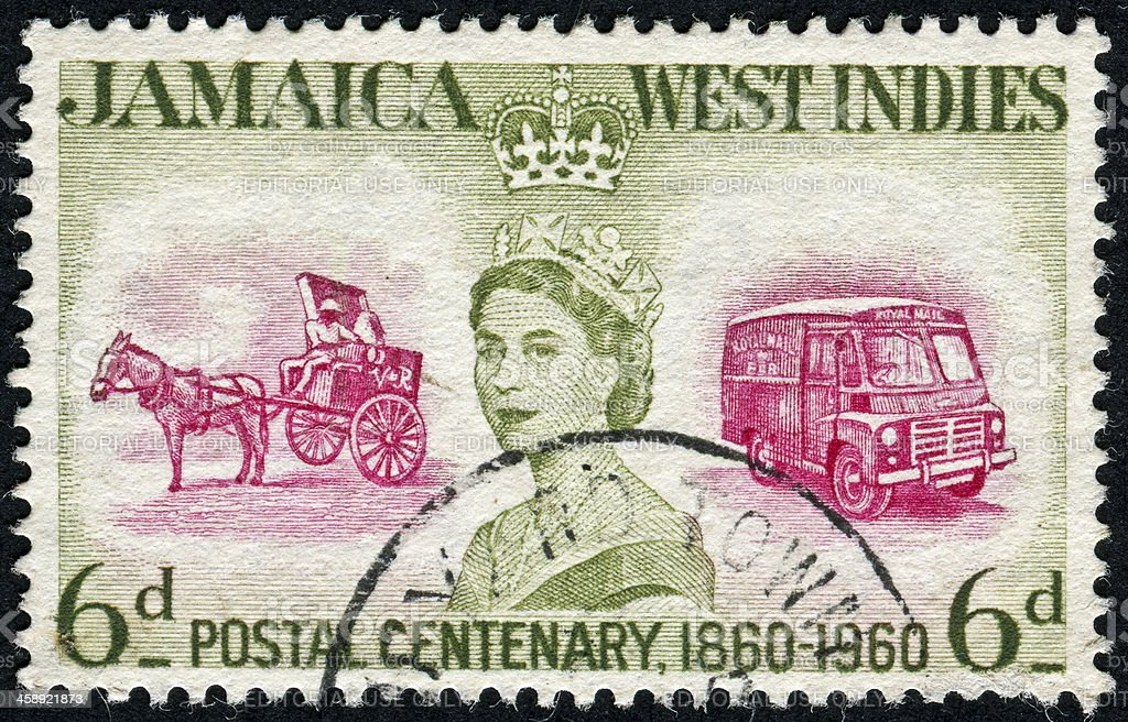 Jamaican Mail Stamp royalty-free stock photo