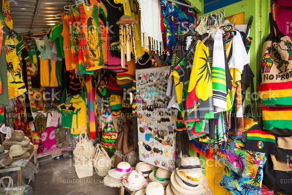 Jamaican Souvenirs Stand In Fort Street Montego Bay