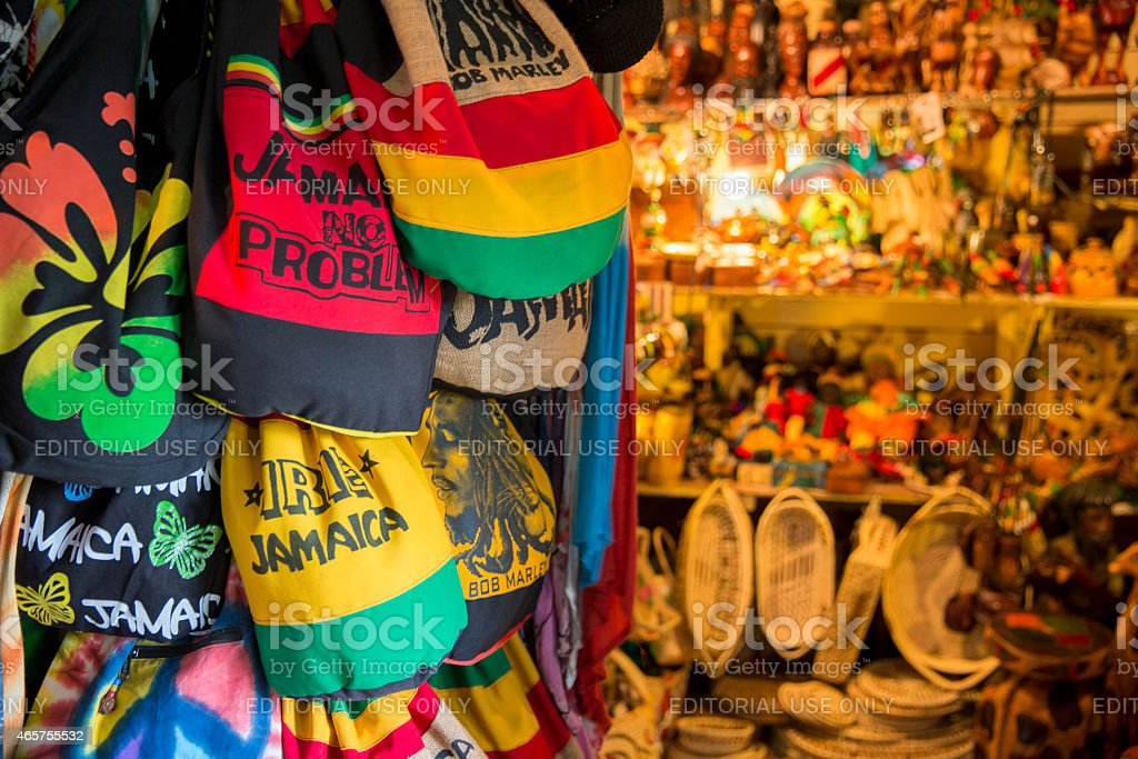 Jamaican souvenirs stand in Fort street, Montego Bay, Jamaica​​​ foto