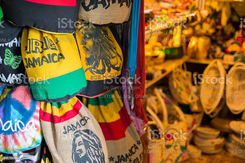 Jamaican souvenirs stand in Fort street, Montego Bay, Jamaica foto