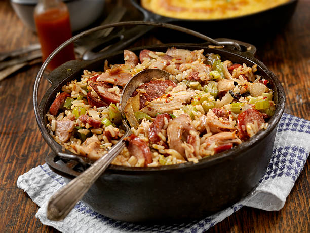 jambalaya - chicken rice stock photos and pictures