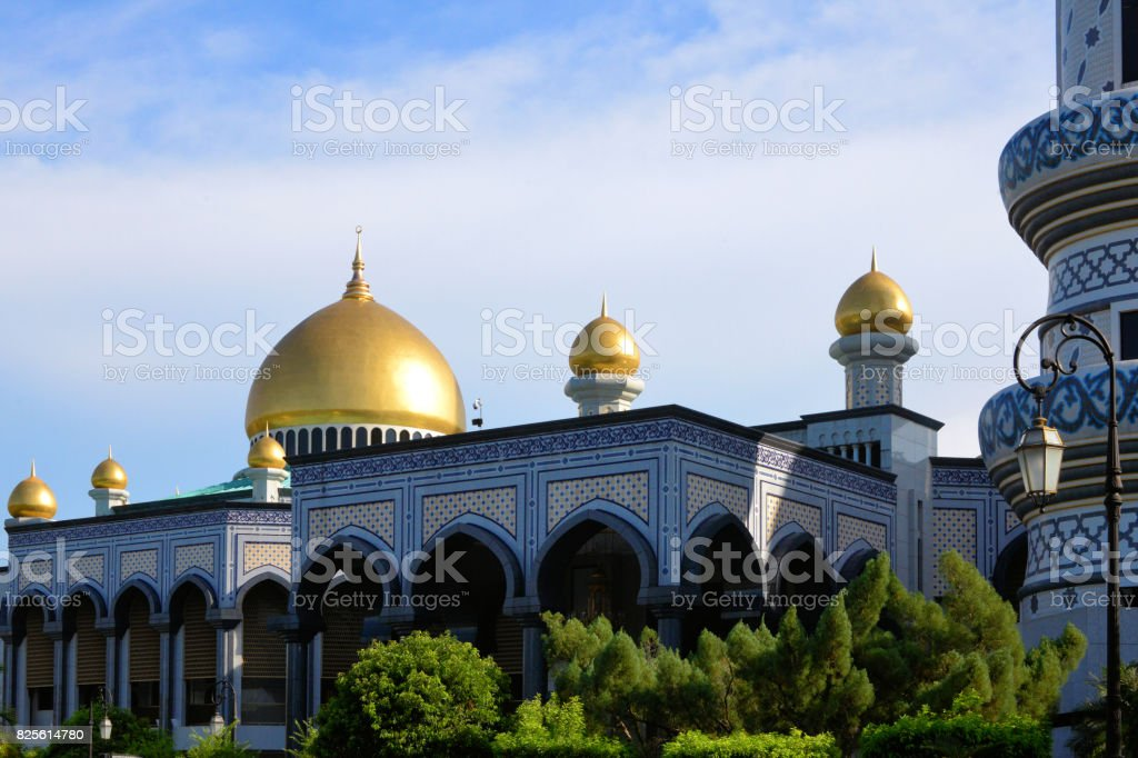 Jame Asr Hassanil Bolkiah mosque arches, Bandar Seri Begawan, Brunei stock photo