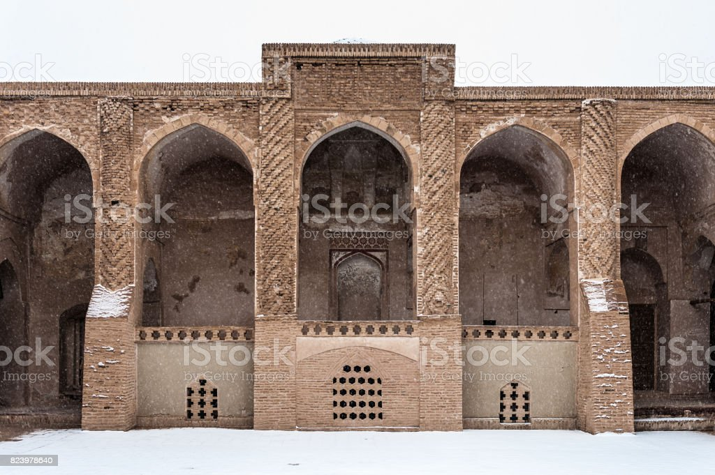 Jameh Mosque of Nain, the grand, congregational mosque of Nain city, Isfahan Province of Iran. stock photo