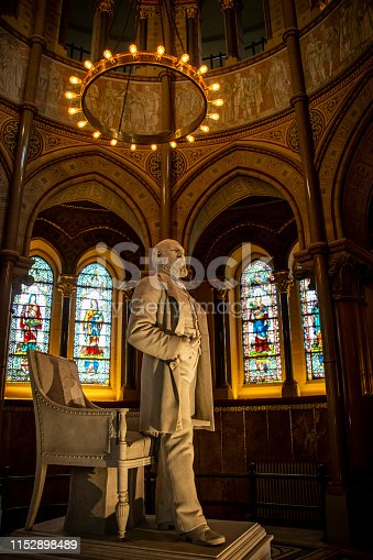 James A. Garfield Monument in Lake view Cemetery in Cleveland, Ohio with stained glass and a stature of him