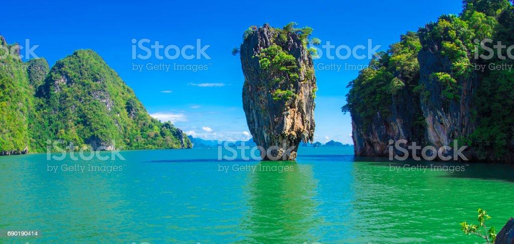 james bond island in thailand, ko tapu stock photo