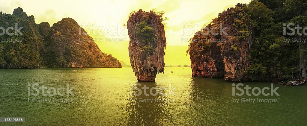 James Bond island sunset panoramic photography stock photo