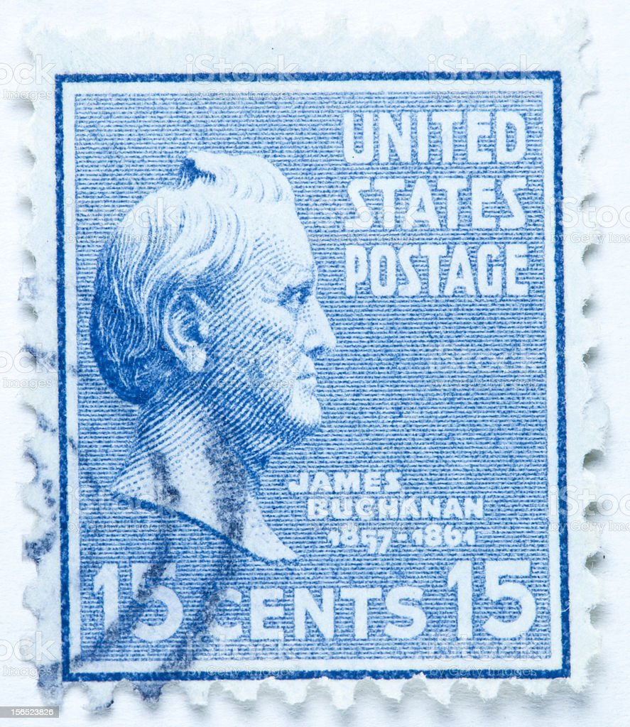 James Buchanan. United States - circa 1938 Stamp stock photo