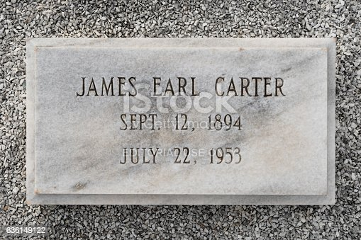 Plains, Georgia, USA - November 12, 2016: James Earl Carter's (father of Jimmy Carter) grave at the Lebanon Cemetery in Plains