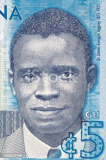 James Emman Kwegyir Aggrey portrait from Ghanaian money