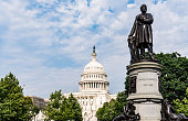 James Garfield Monument with United States Capitol Building