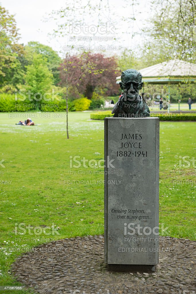 James Joyce bust at St. Stephen's Green stock photo