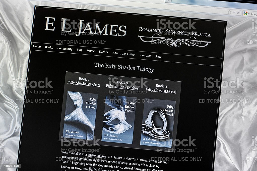 E L James official website with The Fifty Shades Trilogy stock photo