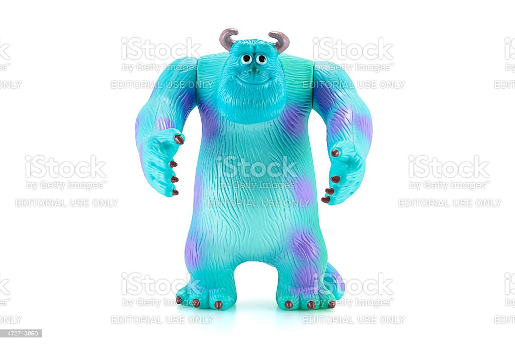 James P. Sullivan Sulley figure toy character from Monsters inc Bangkok,Thailand - April 26, 2015: James P. Sullivan Sulley figure toy character from Monsters inc movie by Disney Pixar. There are plastic toy sold as part of the McDonald's Happy meals. 2015 Stock Photo