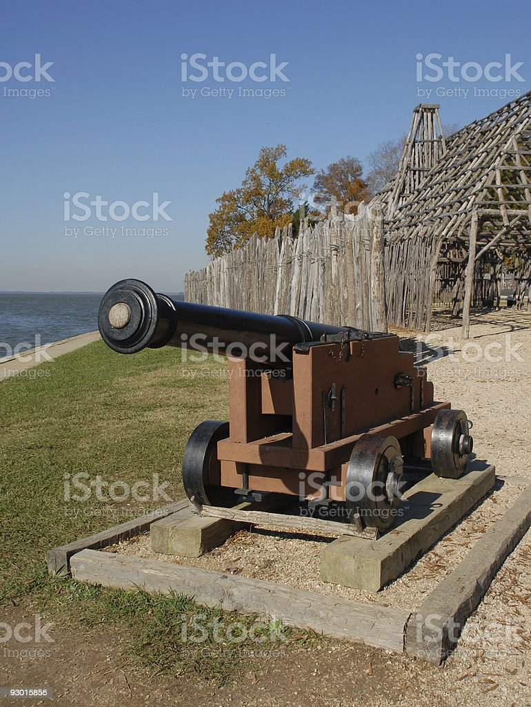 Jamestown cannon stock photo