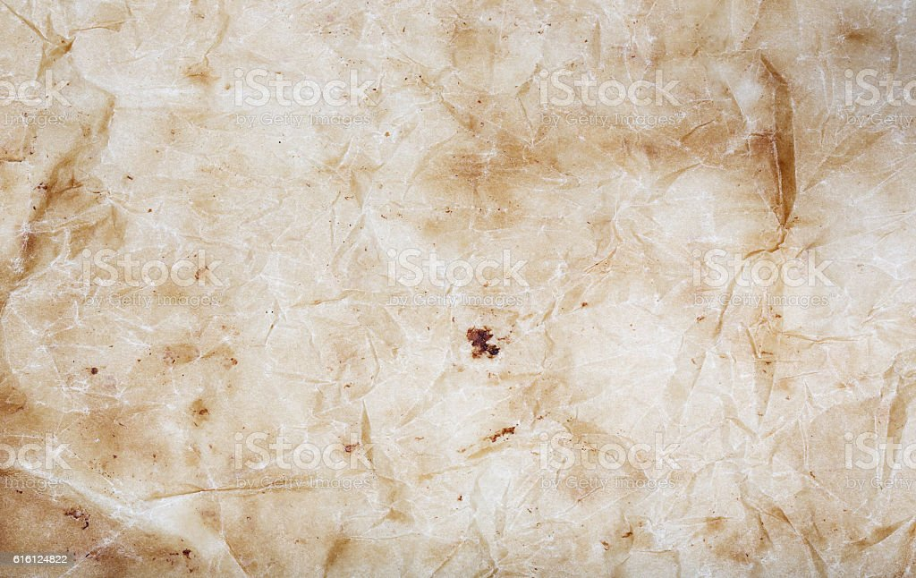 Jammed dirty baking paper. Background stock photo