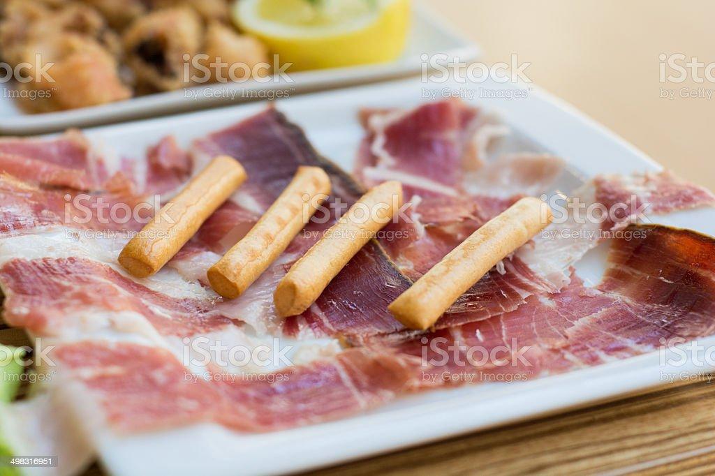 Jamón con palitos tostados stock photo