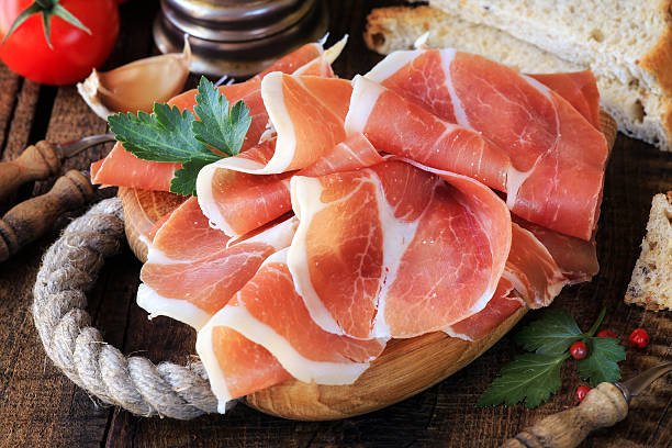 Jamon serrano or prosciutto stock photo