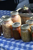 Mason jars full of pie filling jams and preserves for sale