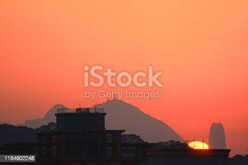 skyline of Hong Kong city with sun under sunset
