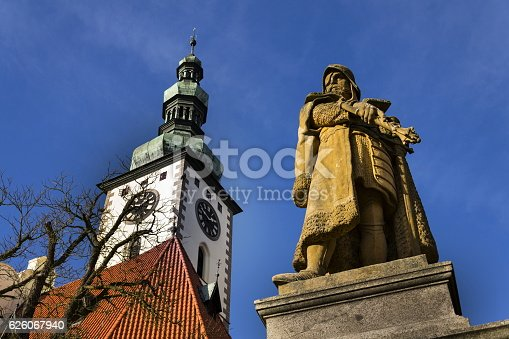 istock Jan Zizka Statue in front of church in Tabor 626067940