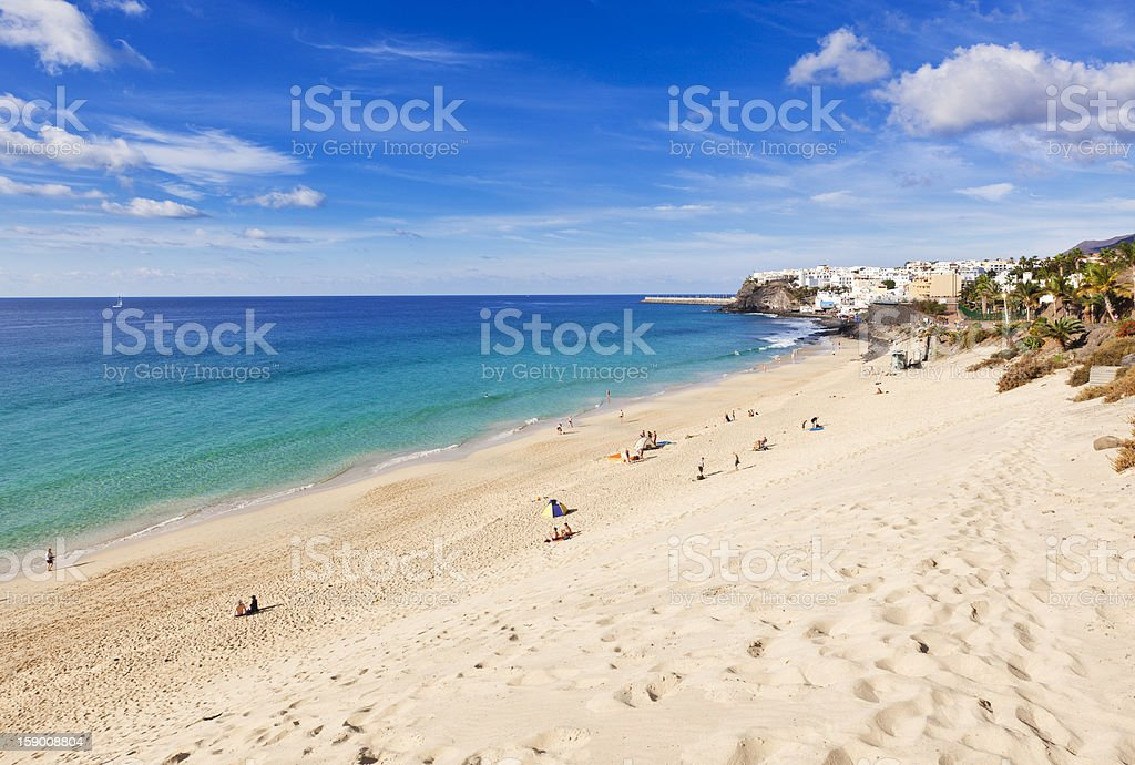 Jandia beach and the old town of Morro Jable stock photo
