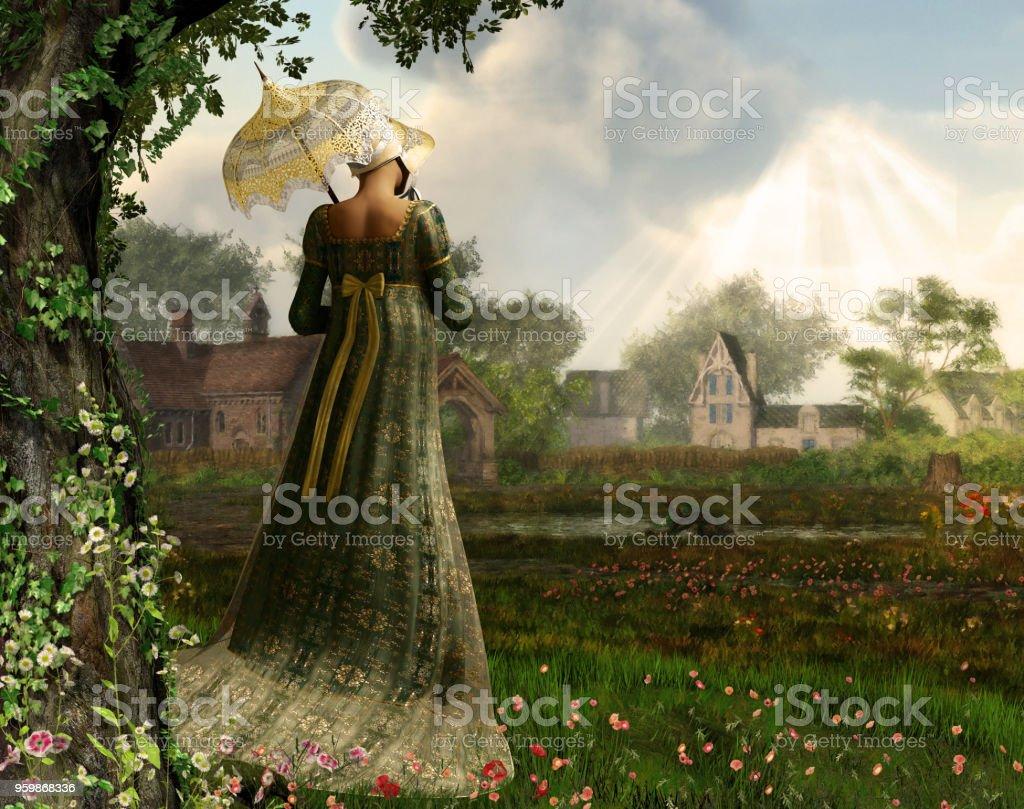 Jane Austen Stil Frau flanierende Landschaft – Foto