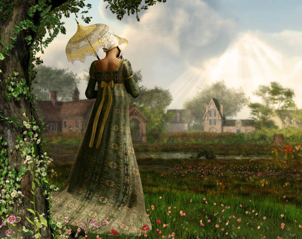 Jane Austen style woman strolling countryside Rendered image of an elegant Jane Austen style woman strolling the countryside, Regency dress 19th century stock pictures, royalty-free photos & images