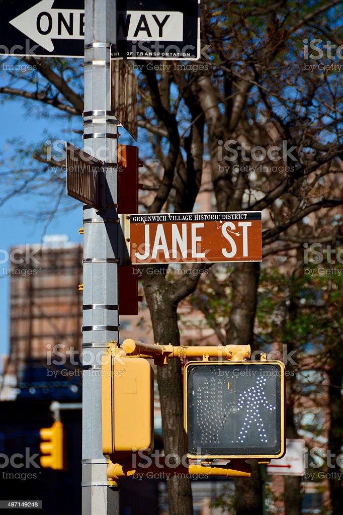 Jane street sign stock photo