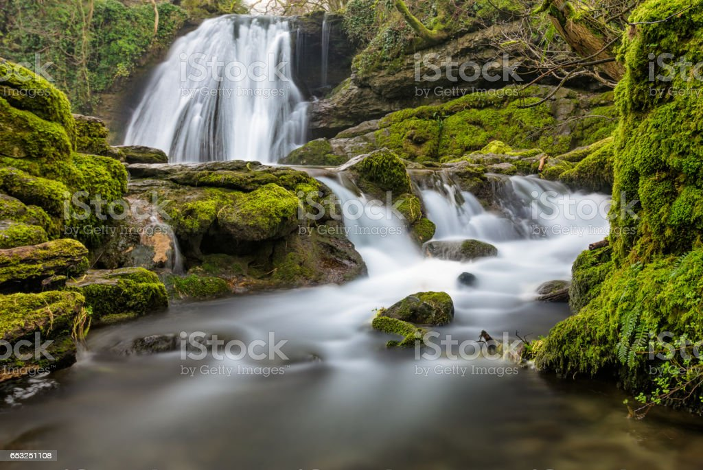 Janet's Foss Waterfall In Yorkshire Dales. stock photo