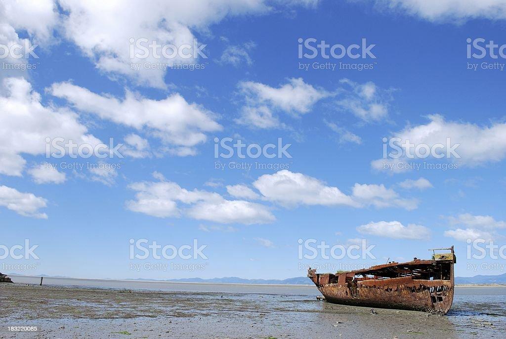 Janie Seddon Shipwreck, Motueka, NZ stock photo