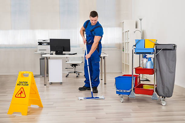 janitor mopping floor in office - custodian stock pictures, royalty-free photos & images