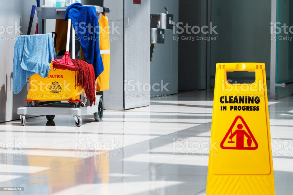 Janitorial and mop bucket on cleaning stock photo