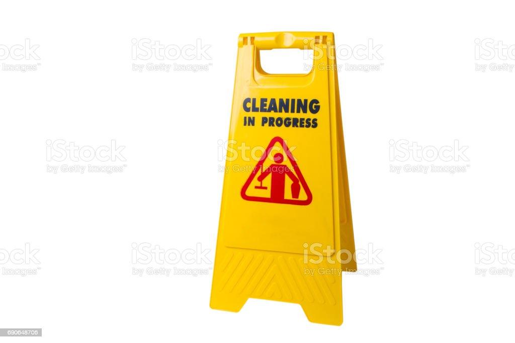 Hausmeister Zeichen der Reinigung läuft isoliert – Foto