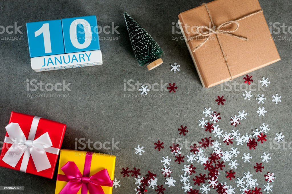 January 10th. Image 10 day of january month, calendar at christmas and happy new year background with gifts stock photo