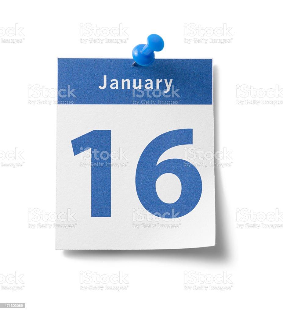 January 16th Calendar royalty-free stock photo
