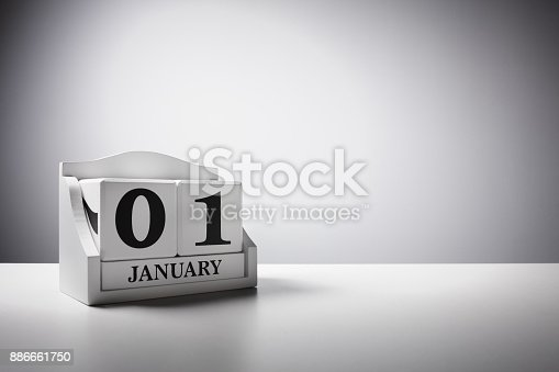 945046208 istock photo January 1st calendar background concept for new year 886661750