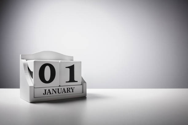 january 1st calendar background concept for new year - new year day stock photos and pictures